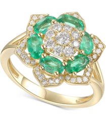 emerald (1-3/4 ct. t.w.) and diamond (1/2 ct. t.w.) ring in 14k gold (also available in sapphire and certified ruby)