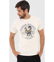 camiseta jack & jones summer holiday off-white