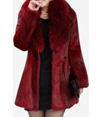 cappotti in pelliccia sintetica da donna tinta unita casual