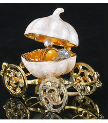 pumpkin carriage crystal inlaid trinket jewelry box for ring wedding gift box