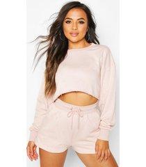 petite loungewear set met sweater en shorts, blush