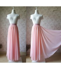 blush pink chiffon maxi skirts blushpink wedding bridesmaid maxi chiffon skirts