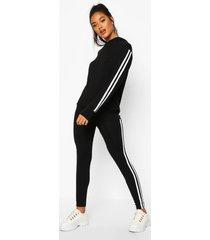 side stripe hoodie & leggings lounge set, black