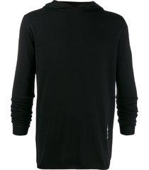 rick owens fine knit hoodie - black