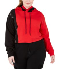 lala anthony trendy plus size french terry cropped hoodie