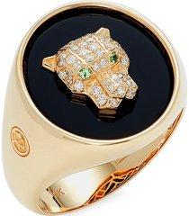 effy men's 14k yellow gold & multi-stone panther head ring - size 10