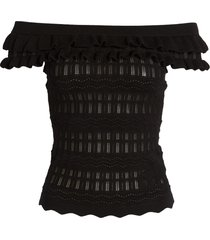 women's guess nola off the shoulder pointelle sweater, size x-small - black