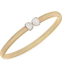 14k white & yellow gold diamond cuff bracelet