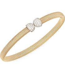 14k white & yellow gold diamond cuff bracelet