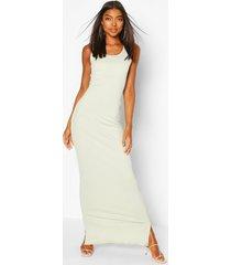 lange basic ribgebreide maxi-jurk met diepe hals, salie