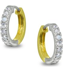 cubic zirconia huggie hoop earrings in two tone 18k gold plate & sterling silver