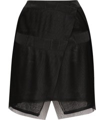 032c plissé pleated wrap mini skirt - black