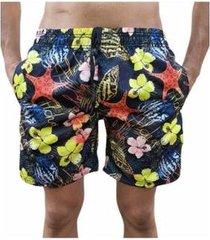 bermuda short estrela moda praia relaxado estampado masculina
