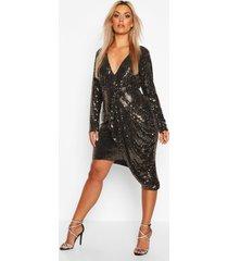 plus metallic gedrapeerde midi jurk met laag decolleté, goud