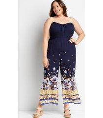 maurices plus size womens navy floral strapless smocked jumpsuit blue