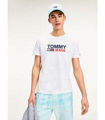 camiseta de algodón con logo blanco tommy jeans
