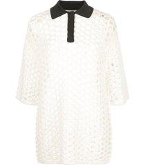 3.1 phillip lim open-knit polo shirt - white