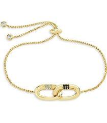 goldplated & cubic zirconia interlocking illusion lock bolo bracelet