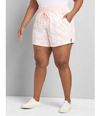 lane bryant women's livi french terry short - tie-dye 38/40 sunset pink pearl