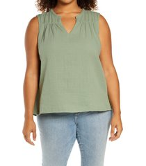 caslon(r) gathered a-line tank, size 3x in green dune at nordstrom