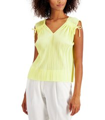 alfani petite pleated ruched top, created for macy's
