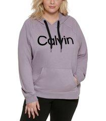 calvin klein plus size performance logo hoodie