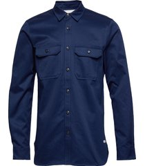 ams blauw clean twill utility shirt overhemd casual blauw scotch & soda
