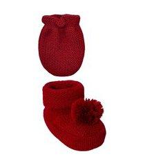 conjunto luva e sapatinho recém nascido tricot pompom vermelho everly- 2 peças
