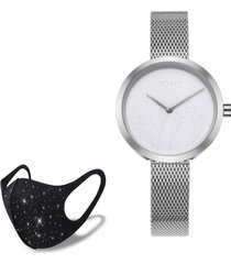 reloj silver nature  fashion mask con cristales toms