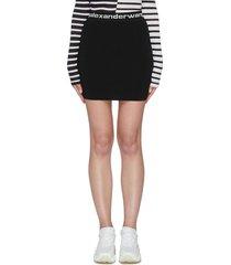 logo print elastic high waist bodycon mini skirt