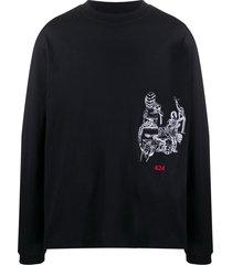 424 embroidered long-sleeve sweatshirt - black