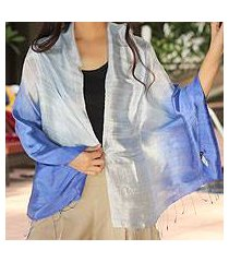 silk shawl, 'shimmering sky' (thailand)