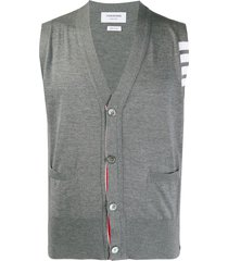 thom browne 4-bar stripe sleeveless cardigan - grey