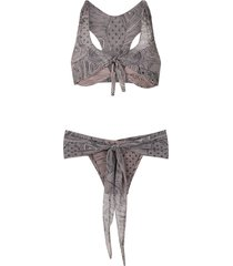 amir slama printed racerback bikini set - neutrals