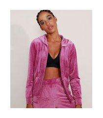 jaqueta de plush esportiva ace com bolso e capuz roxa