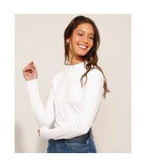 blusa básica manga longa gola alta off white