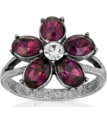 pewter and clear crystal floral ring
