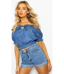 chambray off the shoulder top, mid blue