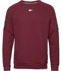 fleece tape crew sweat-shirt tröja röd tommy sport