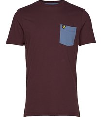 contrast pocket t shirt t-shirts short-sleeved röd lyle & scott