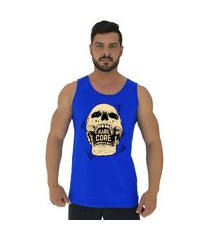 regata clássica masculina alto conceito hardcore skull azul royal