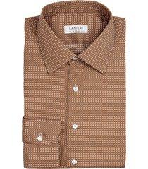 camicia da uomo su misura, canclini, optical marrone, quattro stagioni | lanieri