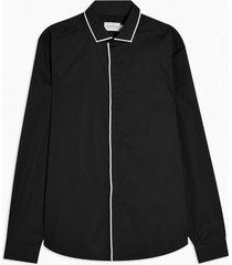 mens black and white piping detail slim shirt
