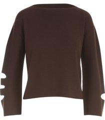 pierantoniogaspari boat neck sweater w/slit on sleeves