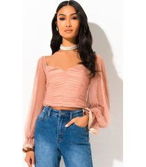 akira let you get away ruched long sleeve blouse