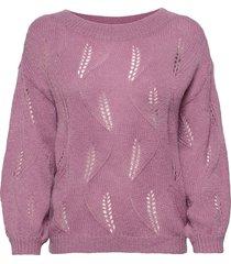 visouta l/s boat neck knit top/l stickad tröja lila vila