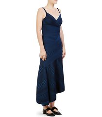 cashmere stripe-knit asymmetrical dress