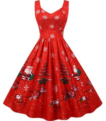 christmas snowflake santa claus sweetheart dress