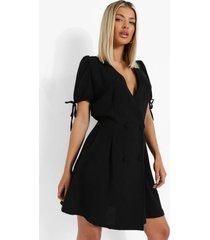 linnen look blazer jurk met dubbele knopen, black