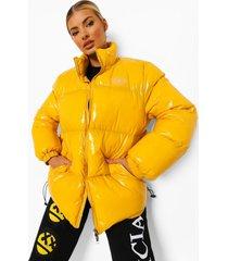 glanzende gewatteerde jas met hoge kraag, yellow